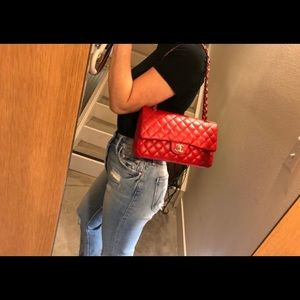 Authentic CHANEL Red Lambskin M/L Double Flap 2.55